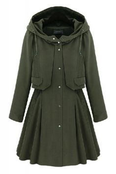 A-line Long Sleeve Hooded Trench Coat
