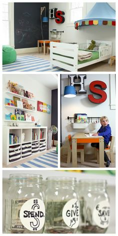 Big Boy Room Inspiration and Ideas - love the chalkboard wall, toy organization and play table!