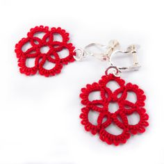 Red tatted lace earrings screw on   tatting