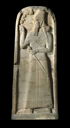 A stele of the Assyrian king Šamši-Adad V (c.815 BCE), making obeisance to the symbols of five deities, including (top) the horned crown of Anu (BM 118892, photo (c) The British Museum).
