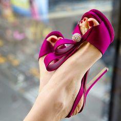 Magenta Wedding Sandals Rhinestone Slingback Stiletto Heels for Bride image 1