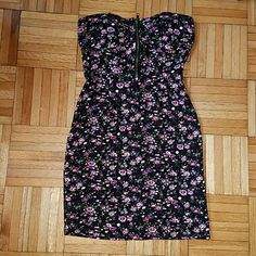 Last chance! Love Culture Strapless Floral Dress Love Culture Strapless Floral Dress with a Cute Zipper on Bodice   - worn twice and didn't fit me after two times. The floral pattern is gorgeous (see 4th photo from closeup of the floral pattern -the bodice has inner cups -size small Love Culture Dresses Mini