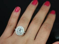 Original Cara 14kt White Gold Thin Oval FB Moissanite and Diamonds Double Halo Engagement Ring (Other metals and stone options available)