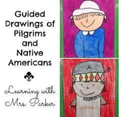 A step by step visual guide of how to draw a Pilgrim boy and girl as well as a Native American boy and girl. Thanksgiving Art Projects, Thanksgiving History, First Grade Art, Second Grade, Pilgrims And Indians, Fall Preschool, Kindergarten Thanksgiving, Directed Drawing, Art Classroom