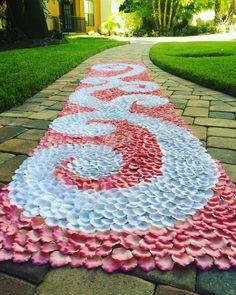 Hummingbird-Coral & White Silk Rose Petal Swirl Aisle Runner, Wedding Aisle Runner, Coral Petal Runner, Custom Made in Any Color by PetaleDeRose on Etsy https://www.etsy.com/listing/465491663/hummingbird-coral-white-silk-rose-petal