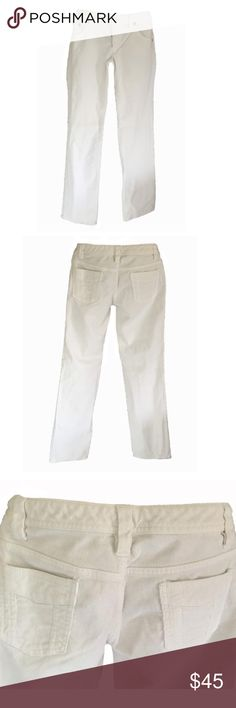 "BR Corduroy Winter White Pants 🎁FREE GIFT when you bundle 2 or more items!!🎁 Banana Republic white / cream corduroy pants. Straight leg. Detailed back pockets. Classic 5 pocket styling. Zip fly with button closure. Size 4. Measurements, laying flat: 16"" waist, 7.5"" front rise, 32"" inseam, 8"" leg opening. Light stretch: 84% cotton, 14% polyester, 3% spandex. Perfect for Fall, Winter and Spring!! Banana Republic Pants Straight Leg"