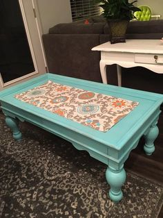 Turquoise Farm Style Coffee Table