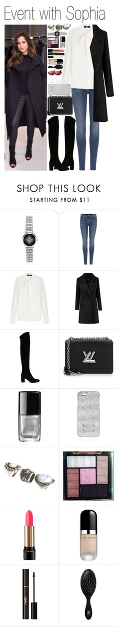 """""""• Event with Sophia"""" by dianasf ❤ liked on Polyvore featuring 7 For All Mankind, Karl Lagerfeld, Yves Saint Laurent, Louis Vuitton, Chanel, MICHAEL Michael Kors, H&M, Victoria's Secret, Lancôme and The Wet Brush"""