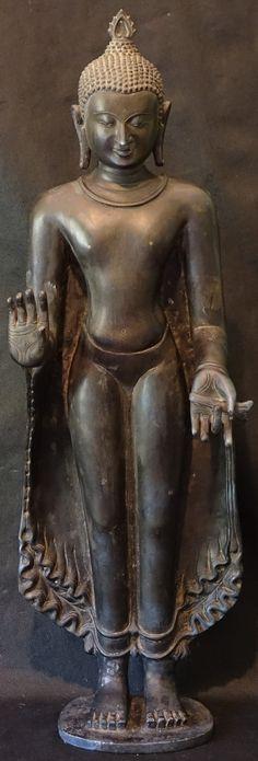 Burmese Bronze Pagan Standing Buddha Statue  Height: 73cm Weight 40 kilo