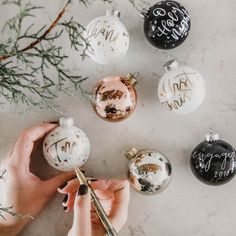 great diy craft tutorial! Hand Painted brush lettered ornaments