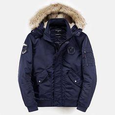 Mens Winter Casual Outdoor Solid Color Hooded Buttons Pockets Thicken Jackets
