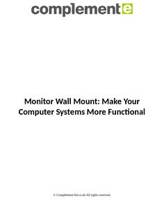 Want to free up space on your desk & increase productivity? With Complement's wall mount monitor arms organize your work-space with smart & versatile solutions.