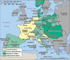 Napoleonic Wars: This map shows the countries who were allied with Napoleon in the Napoleonic Wars.