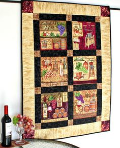 Wine Wall Hanging, Winery Decor Quilted, Harvest Wall Decor, Grapes Wine Bottles, Kitchen Wall Quilt, Gift for Wine Lover, Quiltsy Handmade by RedNeedleQuilts on Etsy