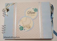 Hola!     Durante el mes de Diciembre hice un libro de Bautizo en tamaño grande y con muchos detalles dulces y sencillos para un bebe, es... Baby Scrapbook, Scrapbook Albums, Scrapbooking, Baby Boy Shower, Grande, Stamps, Ideas, Make A Book, Book Binding