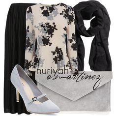 Hijab Outfit by Nuriyah O. Martinez Oasis peplum top €21 - oasis-stores.com Topshop skirt €42 - nordstrom.com Grey shoes €34 - newlook.com Atterley Road gray purse €34 - atterleyroad.com H M scarve €9,55 - hm.com