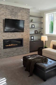 MSI Stacked Stone Visualizer Tool enables you to design real time stacked stone ledger panels for your home Tv Above Fireplace, Linear Fireplace, Fireplace Surrounds, Fireplace Design, Gas Fireplace, Living Room Tv, Living Room With Fireplace, Stacked Stone Fireplaces, Living Room Ideas