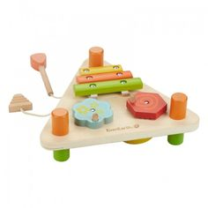 Double-sided musical set to play through music and practice aiming for the right instrument. Includes a xylophone, spinners, drum, glockenspiel and mallets. For every EverEarth® product purchased, you can go online to their website at www.everearthglobal.com and register. From there, EverEarth will plant a tree on your behalf in their FSC certified forest.