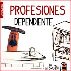 El dependiente / La dependienta --- Profesiones en español, vocabulario español incial- intermedio