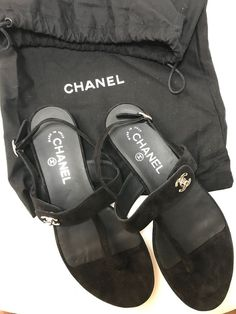 5ee8973436d NWOB-CHANEL SANDALS SUEDE CC turnlock Flat T and Ankle Strap-Original  DUSTBAG