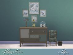 A small set of decor items to fill up that empty hallway space , a calming teal/blue variation and a more cheerful yellow  Found in TSR Category 'Sims 4 Hallway Sets'