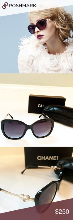 Auth Chanel CC pearl sunglasses $575 This is a beautiful, classic Chanel CC pearl sunglasses. 100%authentic and come with box, certified card, dust bag, pouch. Never worn retail for $575 It will give you effortless style all year round There is a close up picture shows the serial number on the glass.  The lighting in my room is a bit too warm but it carries the classic color combination, black white and goldtone metal with CC logo CHANEL Accessories Glasses