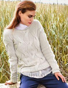 Бежевый пуловер с косами спицами