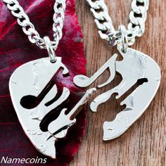 Items similar to Guitar and Music Note BFF Necklaces, Guitar Pick Cut Into 2 Puzzles, Best Friend Gifts, Hand Cut Coin on Etsy Music Jewelry, Coin Jewelry, Coin Necklace, Jewellery, Bff Necklaces, Friendship Necklaces, Bracelets, Best Friend Gifts, Gifts For Friends