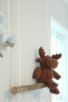DIY Branch Swing Shelves - kiddos - cute for nursery or kid's playroom/bedroom