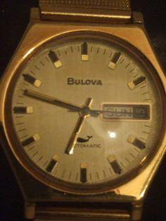 Bulova Automatico Vintage 70' Uomo Vetro cinturino dorato non originale