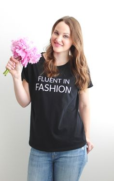 Kelly Elizabeth Designs: Fluent in Fashion Tee - A must-have tee for fashionistas! This super soft, stylish tee will become an instant favorite in your wardrobe. It's perfect for a day out shopping or sipping coffee and flipping through your favorite fashion magazines.