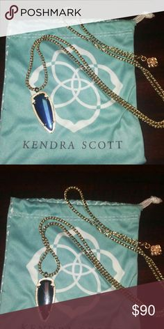 Kendra Scott Kimmy Arrowhead Pendant Necklace Double sided color, black one side ,iridescent blue black other side, gently loved Kendra Scott Jewelry Necklaces