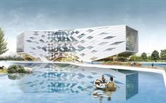 chinese practice LYCS architecture has submitted the winning proposal for the 'jiaxing university library + media center'  to be constructed on a traditional chinese campus in jiaxing, china. the 42,000 square meter facility is surrounded with water  and woods, creating a spatial experience with the hierarchy of private and public spaces.