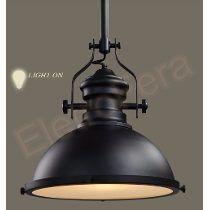 Pendente Luminária Refletor Preto Industrial Retro Design