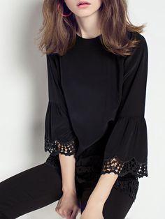 Shop Blouses - Black Pierced Plain 3/4 Sleeve Blouse online. Discover unique designers fashion at StyleWe.com.
