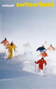 Langset Kjell / 1987    Swissair, Switzerland vintage ski poster. Ski culture was colorful back in a day.
