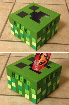 Minecraft creeper Valentine's Box for boys. Valentine's Day craft.