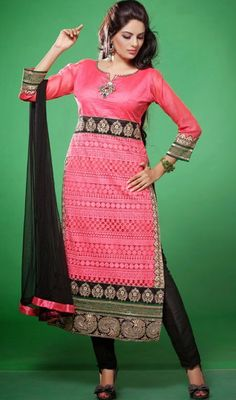 Fuchsia Embroidered Silk and Net Churidar Suit Price: Usa Dollar $162, British UK Pound £95, Euro119, Canada CA$175 , Indian Rs8748.