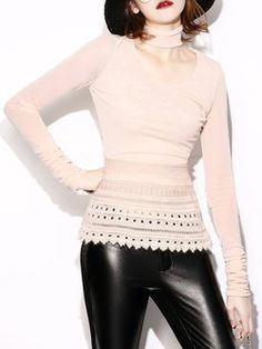 Pink Pierced Casual H-line Long Sleeved Top