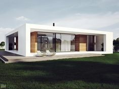 Modern Plan Of Single Storey House In Stylish Design With White Facade And Wooden Deck Decoration Plans modern single storey houses : Know What You Should Do