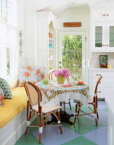 Beautiful White Kitchen With Painted Wood Floors featured on Between Naps on the Porch