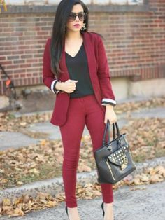 Charlotte Russe Fall Outfit Inspiration  |  Loving this boyfriend blazer in one of the hottest color trends of this season: oxblood/burgundy. - Naty