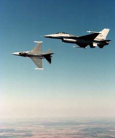 Two F-16's in flight