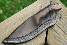 Great Sheath work. #332 HHH CUSTOM KNIFE DAMASCUS w STABILIZED BURL FILEWORK! | HHH Custom Knives