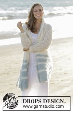 Driftwood / DROPS 175-2 - Knitted jacket in garter stitch with stripes and hood in DROPS Melody. Size: S - XXXL - Free pattern by DROPS Design