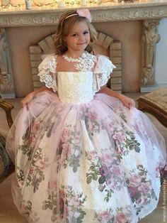 Купить Платье Маркиза Ангелов-роза - розовый, цветочный, платье для девочки, платье на выпускной
