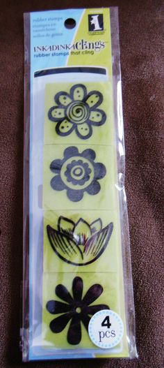 Rubber Stamp Set    NEW   Mod Flowers Cling Stamps  by sagebrush12, $5.00