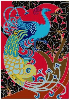 Peacock Cross stitch pattern PDF Art Nouveau Red by Whoopicat