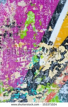 street art with torn flyers | Peeling paint / Torn street posters / Grunge background / Abstract ...
