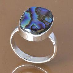 925 SOLID STERLING SILVER ABALONE SHELL RING 4.45g DJR7565 SZ-6.5 #Handmade #Ring